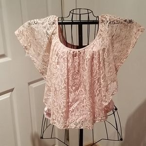 Annabelle camisole, lace overlay,  pink